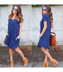 casual loose mini vestidos con bolsillos manga corta cuello redondo -azul