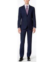kenneth cole reaction men's slim-fit techni-cole stretch medium blue plaid suit
