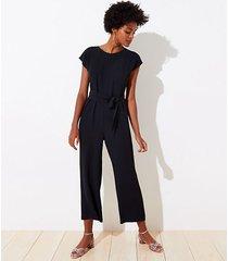 loft petite v-back tie waist jumpsuit