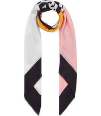 burberry logo graphic print cotton silk large square scarf - pink