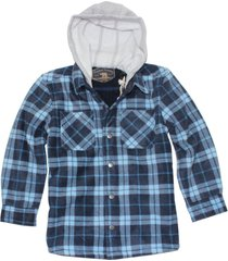 freedom foundry boy's faux fur lined plush hooded flannel shirt