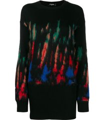 dsquared2 thermal-pattern knitted dress - black
