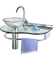 lavabo em vidro glass 70x45,5cm cromado