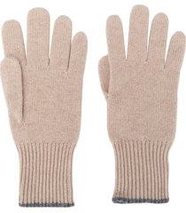 brunello cucinelli fine knit gloves - neutrals