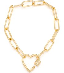 cubic zirconia heart bracelet in gold-plate