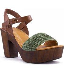 sandalia cuero aqua casual verde rockford