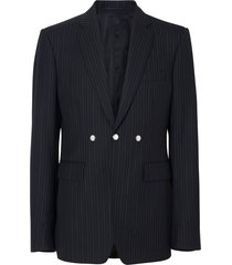 burberry english fit triple stud pinstriped wool tailored jacket -