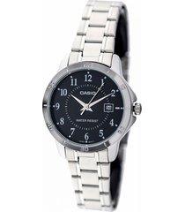 ltp-v004d-1b  reloj negro dama con calendario