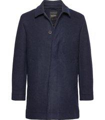 wool mac coat wollen jas lange jas blauw lyle & scott
