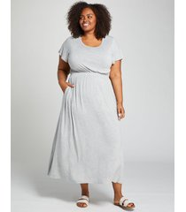 lane bryant women's heathered short-sleeve maxi dress 14/16 grey