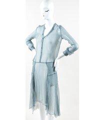 mulberry green white silk geometric print button long sleeve sheer flutter dress green/white sz: s