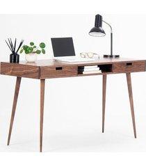 biurko orzechowe z szufladami i wneką, retro
