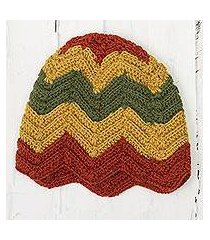 100% alpaca crocheted hat, 'chevron stunner' (peru)