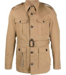 eleventy multi-pocket belted acket - brown