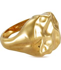 'feminine waves' uneven surface gold-plated signet ring