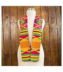 cotton blend kente scarf, 'fathia elegance' (2 strips) (ghana)