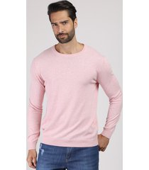suéter masculino em tricô gola careca rosa claro