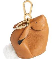 loewe bunny bag charm with genuine shearling - beige
