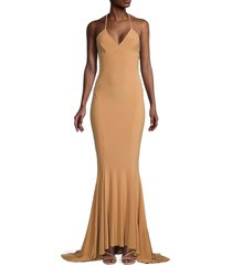 norma kamali women's cross-back trumpet gown - nude - size l