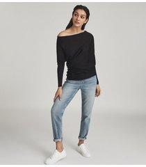 reiss hartlie - wool blend asymmetric top in black, womens, size xl