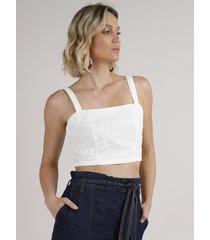 top cropped feminino em laise alça média decote reto off white