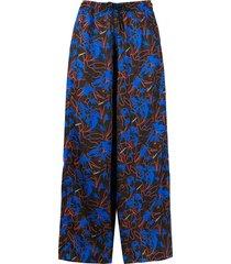 marcelo burlon county of milan hawaii straight-leg trousers - black