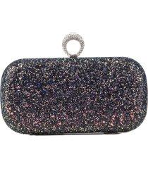 bolsa clutch liage brilhante metal brilho retangular alça alcinha strass pedra glitter furta cor preto/prata