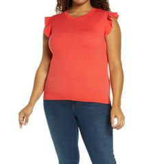 plus size women's halogen flutter sleeve sweater, size 3x - red