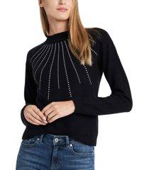 cece embellished mock-neck sweater