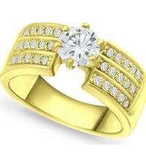 giani bernini cubic zirconia solitaire wide ring in 18k gold-plated sterling silver, created for macy's