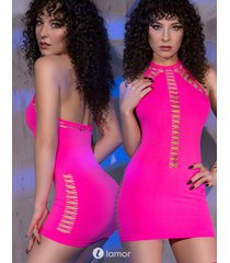 * chilirose neon roze halter mini jurkje