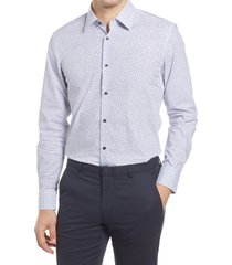 men's big & tall boss jano slim fit button-up dress shirt, size 17.5 - blue