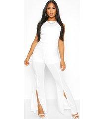 split flare jumpsuit, white