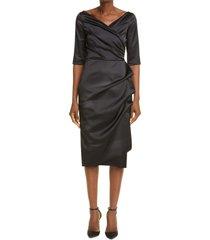 chiara boni la petite robe florien satin cocktail dress, size 12 us in black at nordstrom
