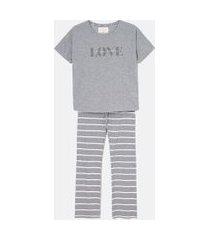 pijama manga curta estampa love com glitter e calça listrada | lov | cinza | p