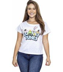 camiseta sideway looney tunes personagens - branca