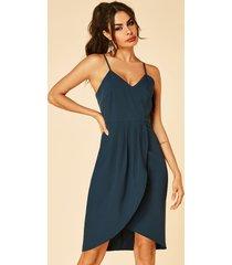 yoins azul marino tirantes espagueti dobladillo alto-bajo escote en v vestido