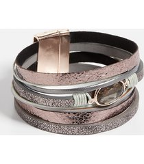 maurices womens metallic multi row magnetic bracelet gray
