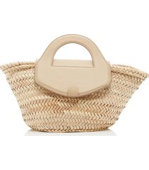 alqueria leather-trimmed straw tote