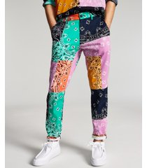 sun + stone men's marcus straight-fit colorblocked bandana-print patchwork pants