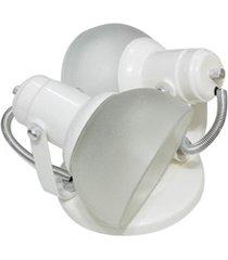 spot de sobrepor para 2 lâmpadas com vidro branco
