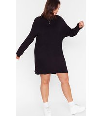 womens sleeve it all before plus mini dress - black