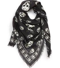 men's alexander mcqueen skull print modal & silk scarf, size one size - grey