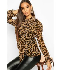 leopard print high neck pussybow blouse, brown