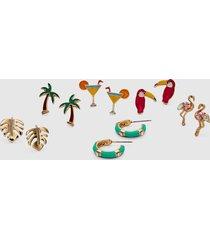 lane bryant women's tropical vibes stud earrings - 6-pack onesz multi stripe