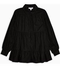 black poplin tiered shirt - black