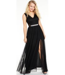 bcx juniors' glitter lace & mesh gown