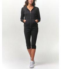 marc new york performance women's long sleeve zip hoodie with raw edge details