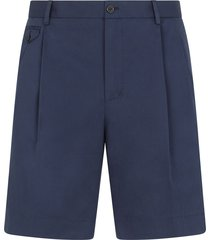 dolce & gabbana embroidered logo pleated bermuda shorts - blue