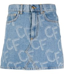 chiara ferragni logo-print short denim skirt - blue